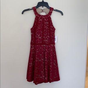 Juniors red lace halter dress size XXS